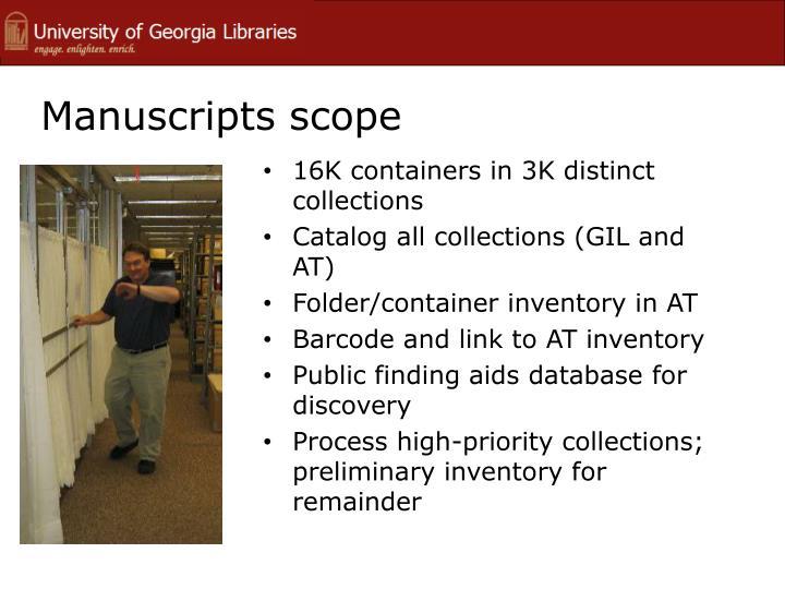 Manuscripts scope