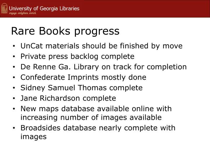 Rare Books progress