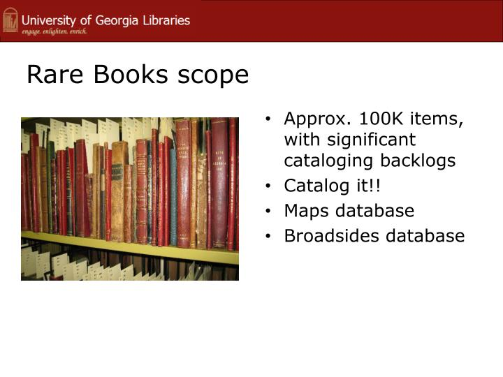 Rare Books scope