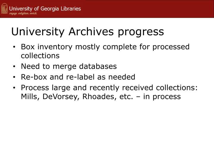 University Archives progress