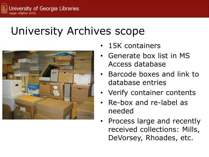 University Archives scope