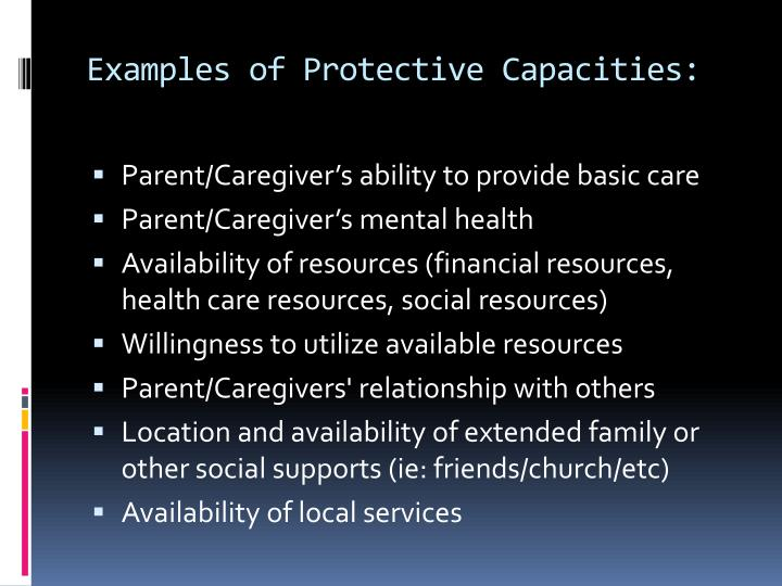 Examples of Protective Capacities: