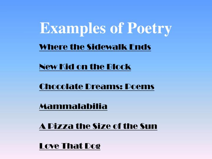 Examples of Poetry