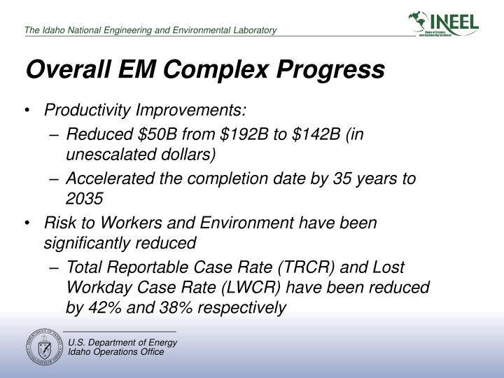 Overall EM Complex Progress