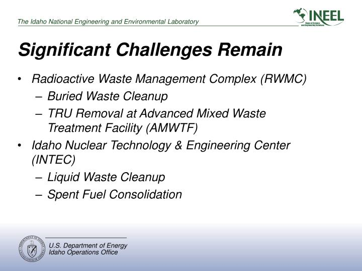 Significant Challenges Remain