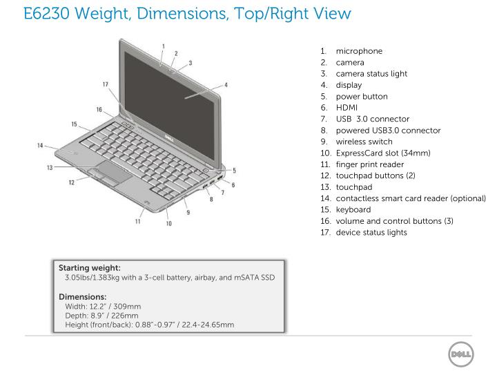 E6230 Weight, Dimensions, Top/Right View