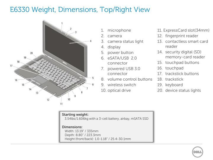 E6330 Weight, Dimensions, Top/Right View