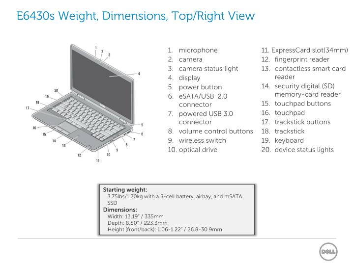 E6430s Weight, Dimensions, Top/Right View