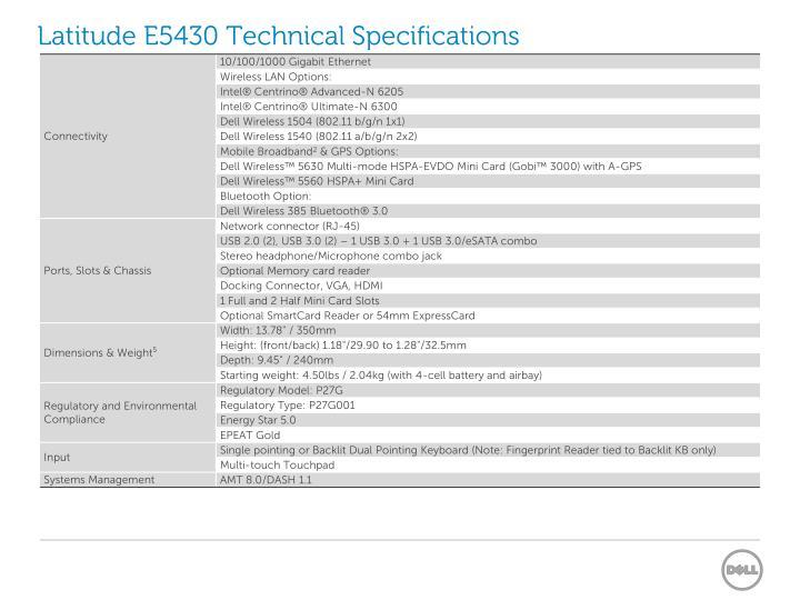 Latitude E5430 Technical Specifications