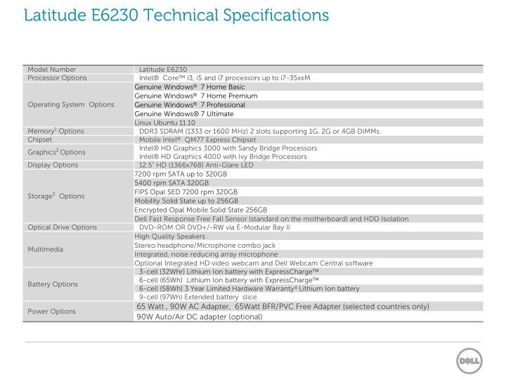 Latitude E6230 Technical Specifications
