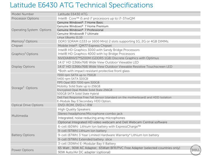 Latitude E6430 ATG Technical Specifications