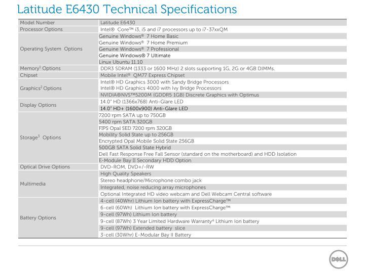 Latitude E6430 Technical Specifications