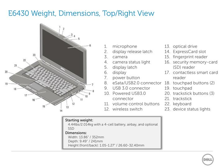 E6430 Weight, Dimensions, Top/Right View