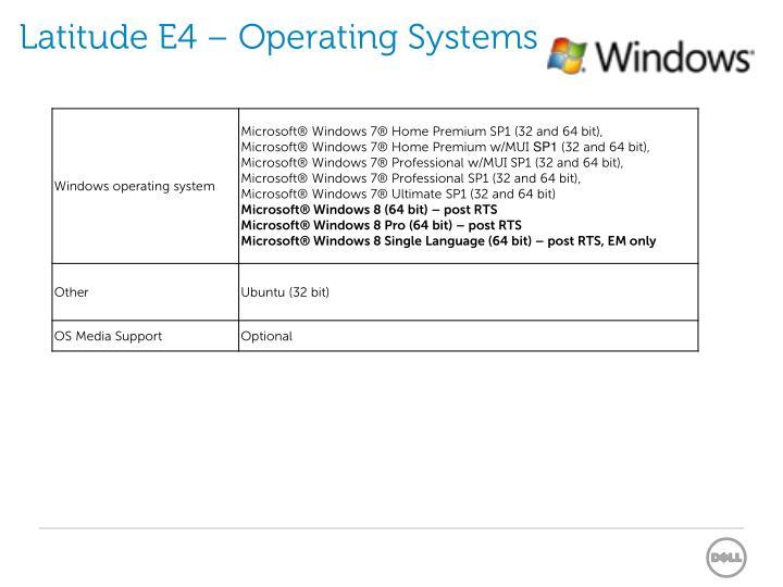 Latitude E4 – Operating Systems