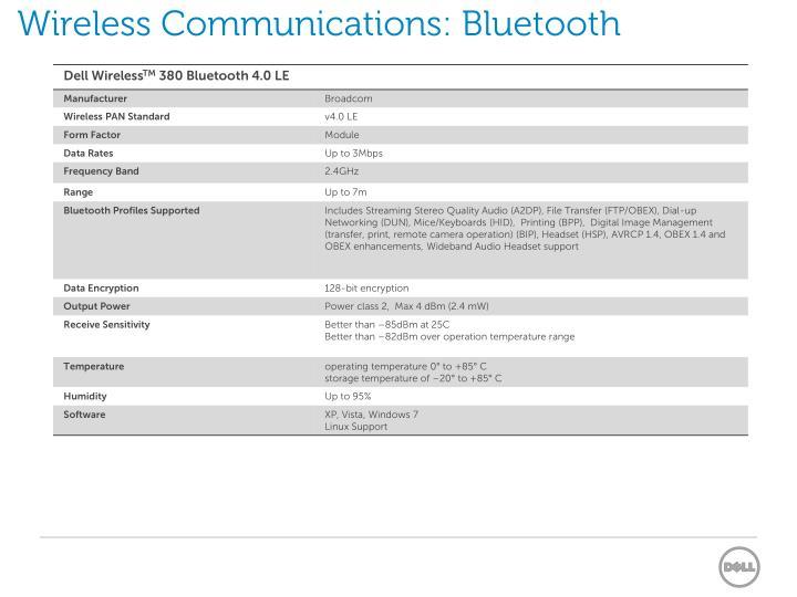 Wireless Communications: Bluetooth