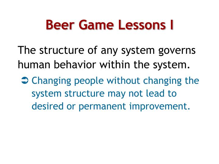 Beer Game Lessons I