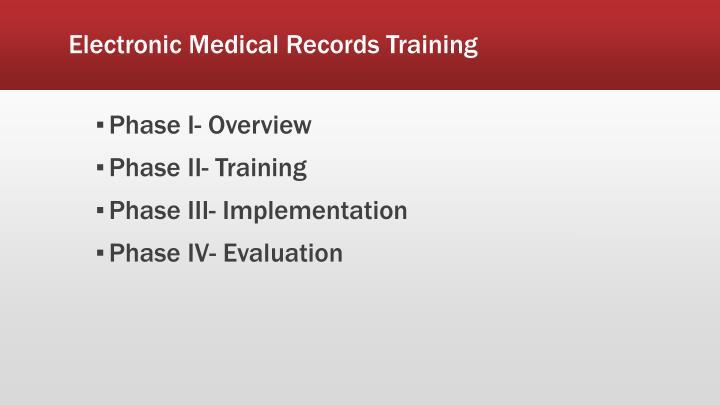 Electronic Medical Records Training
