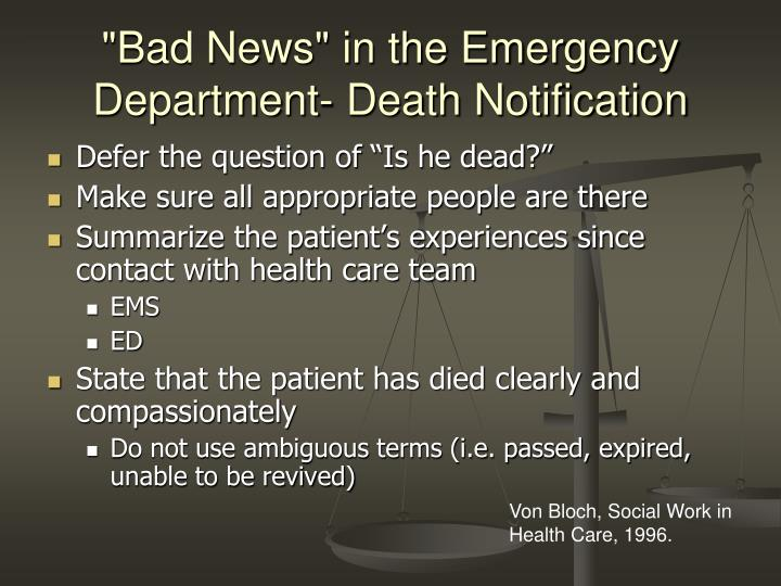 """""""Bad News"""" in the Emergency Department- Death Notification"""