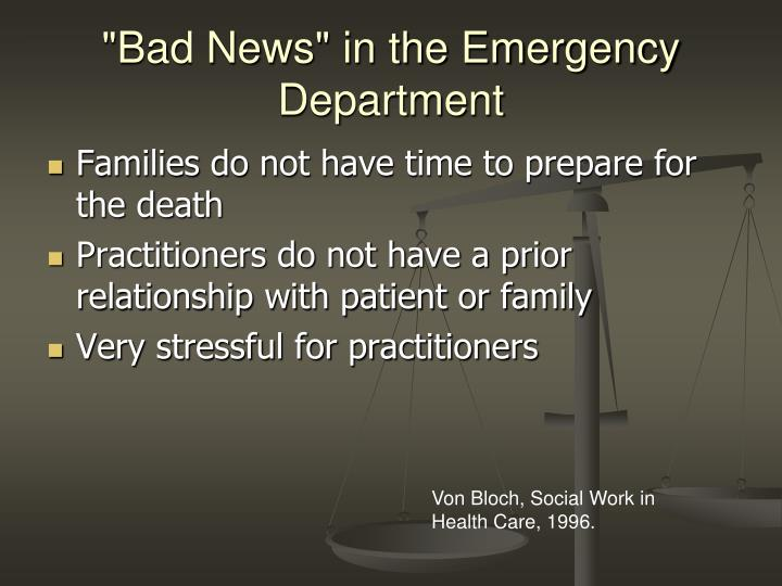 """""""Bad News"""" in the Emergency Department"""