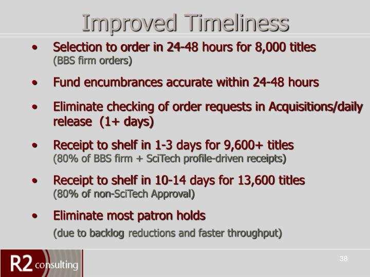 Improved Timeliness