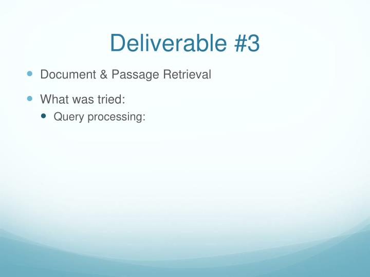 Deliverable #3