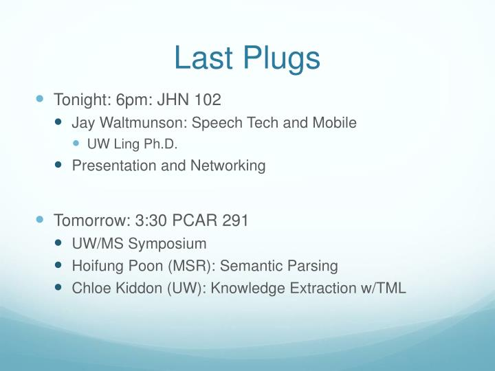 Last Plugs