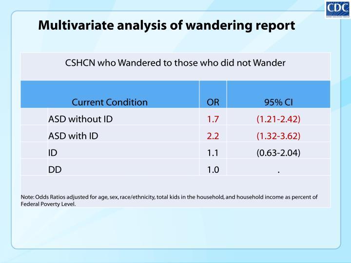 Multivariate analysis of wandering report