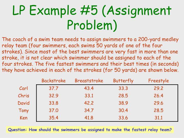 LP Example #5 (Assignment Problem)