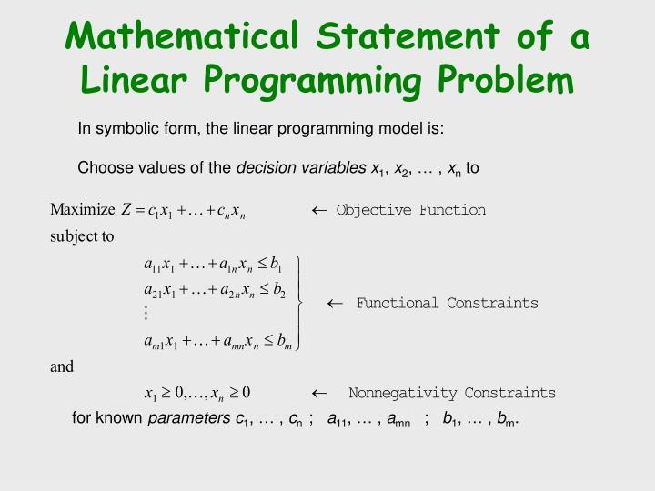Mathematical Statement of a