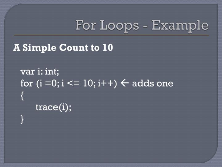 For Loops - Example
