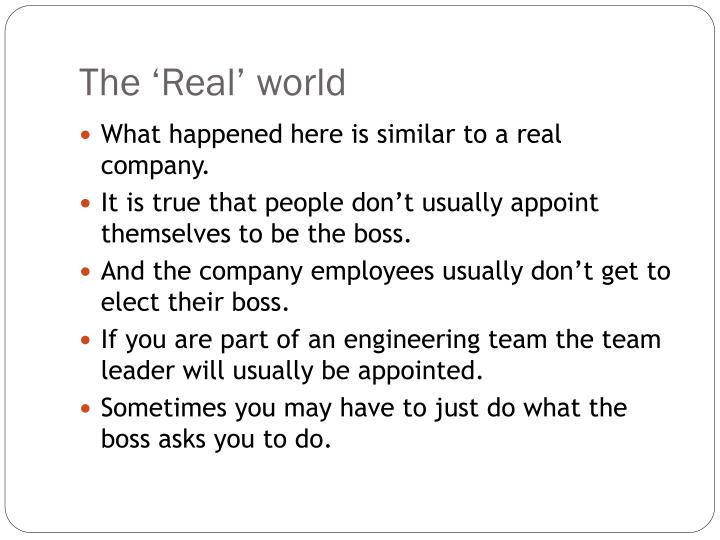 The 'Real' world