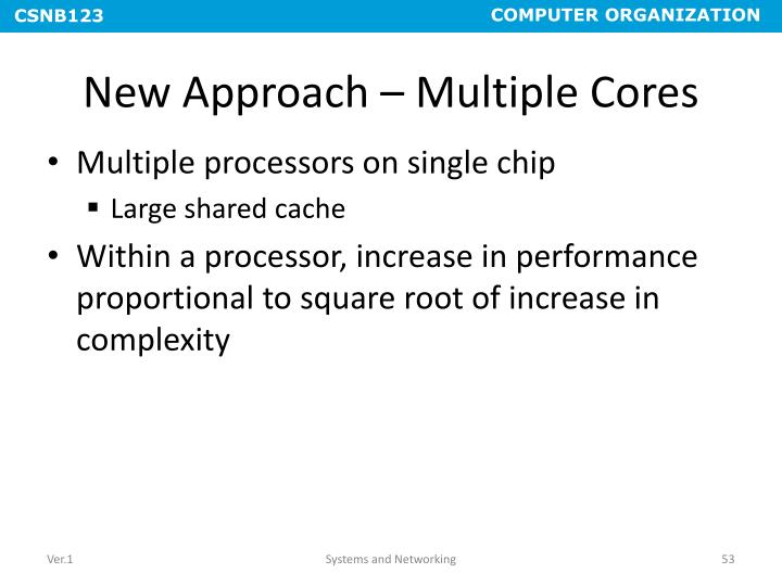 New Approach – Multiple Cores