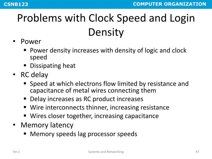 Problems with Clock Speed and Login Density