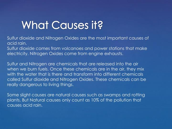 Sulfur dioxide and Nitrogen Oxides are the most important causes of acid rain.