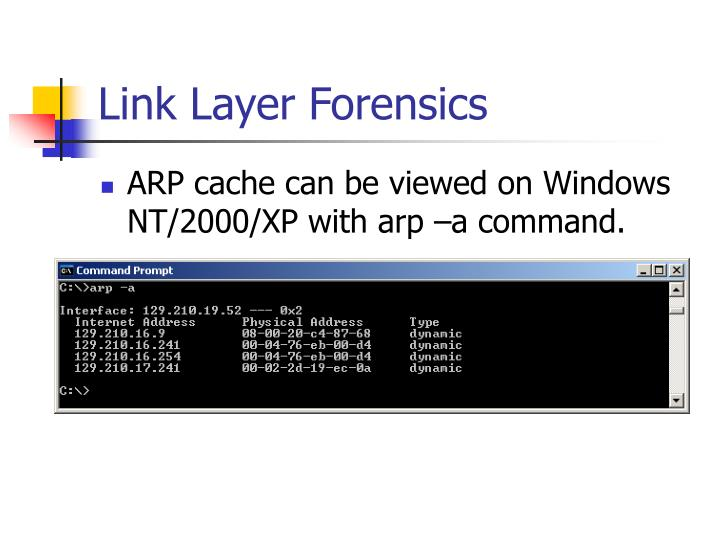 Link Layer Forensics