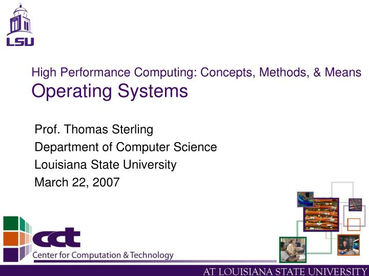High performance computing concepts methods means operating systems