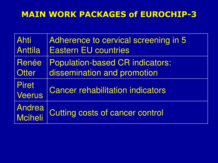 MAIN WORK PACKAGES of EUROCHIP-3