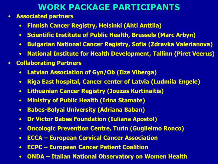 WORK PACKAGE PARTICIPANTS
