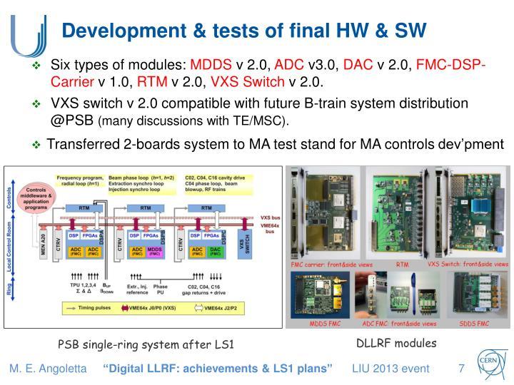 Development & tests of final HW & SW