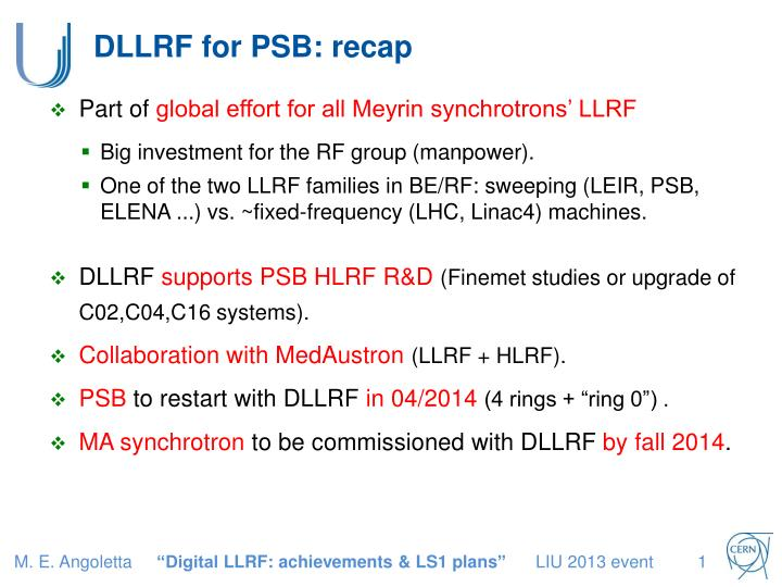 DLLRF for PSB: recap