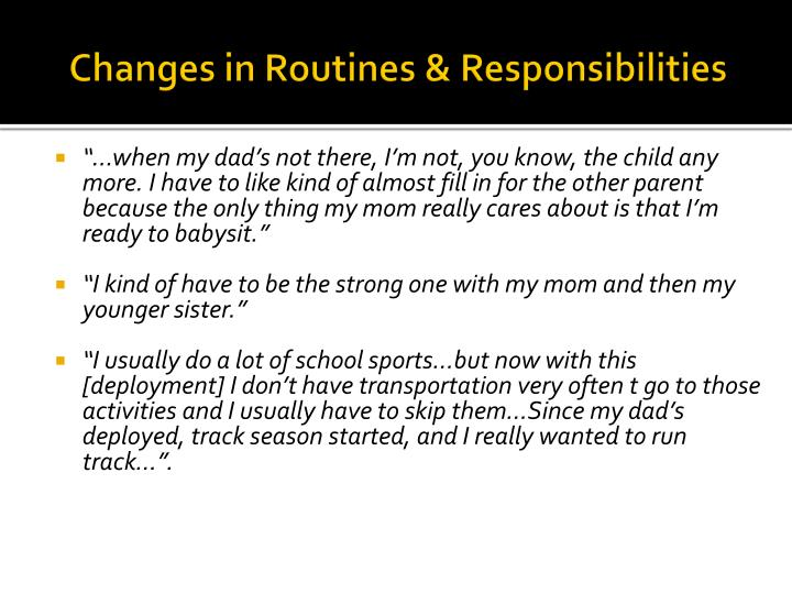 Changes in Routines &
