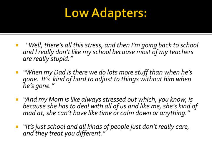 Low Adapters: