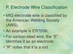 p electrode wire classification