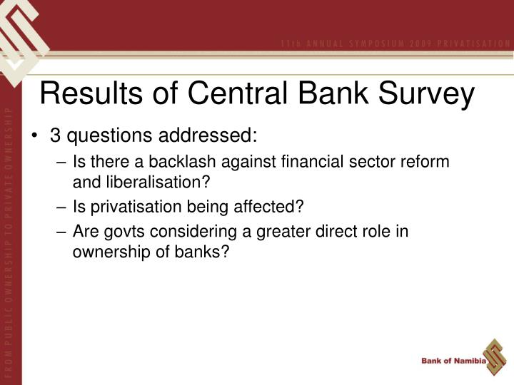 Results of Central Bank Survey