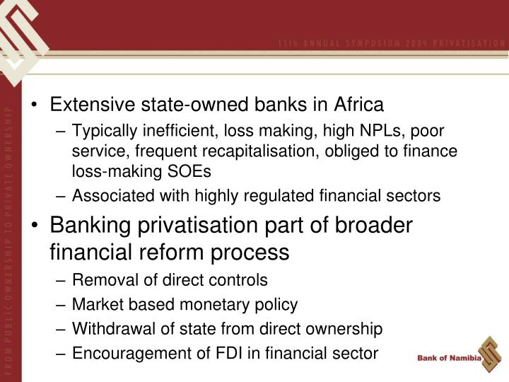 Extensive state-owned banks in Africa
