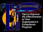 tips to improve the effectiveness of your organization s compliance program