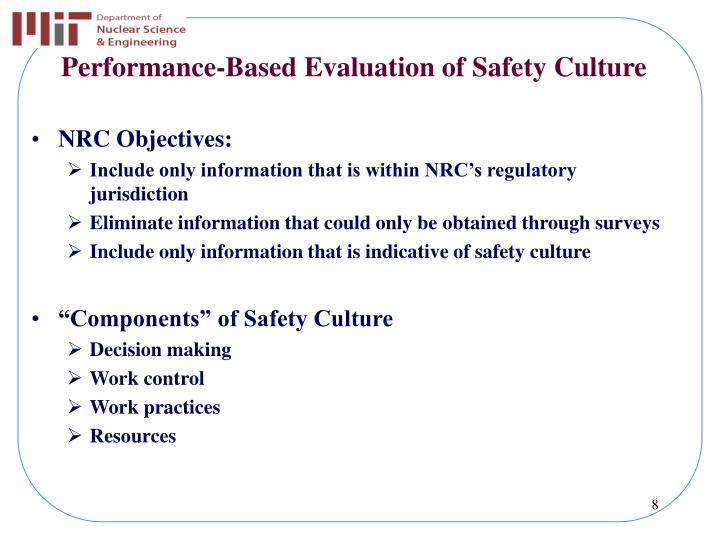 Performance-Based Evaluation of Safety Culture