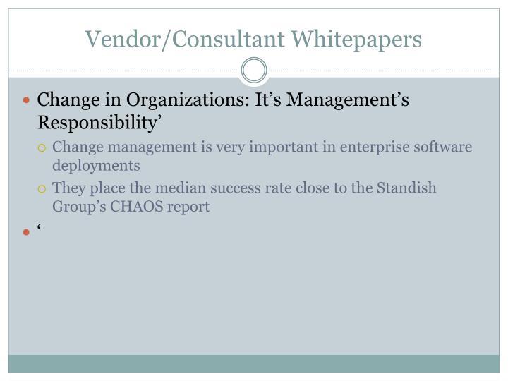 Vendor/Consultant Whitepapers
