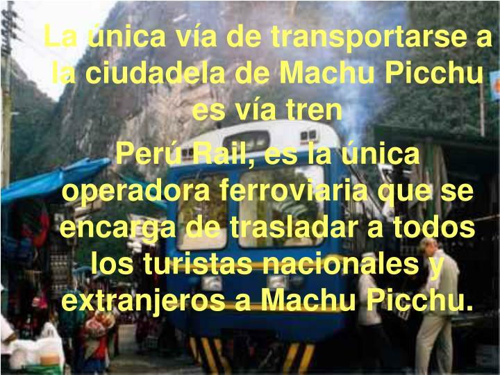 La única vía de transportarse a la ciudadela de Machu Picchu es vía tren
