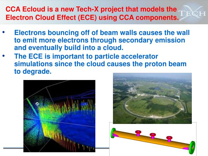 CCA Ecloud is a new Tech-X project that models the Electron Cloud Effect (ECE) using CCA components.